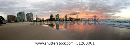 greenmount beach, coolangatta, gold coast, australia, 4 photo merge panorama. - stock photo