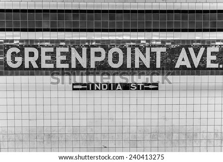 Greenpoint Avenue subway station sign, New York. - stock photo