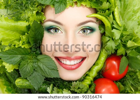 greens vegetables frame woman beauty face isolated on white background - stock photo