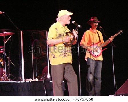 GREENSBORO, NC - JUNE 5: Mike Love and Randell Kirsch of the Beach Boys perform onstage at White Oak Amphitheater at the Greensboro Coliseum in Greensboro, NC on June 5, 2011.