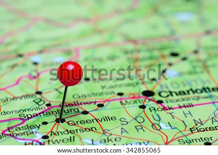Greenville pinned on a map of USA  - stock photo