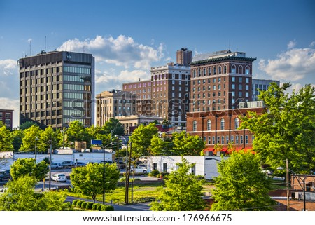 Greenville, South Carolina, USA downtown buildings. - stock photo