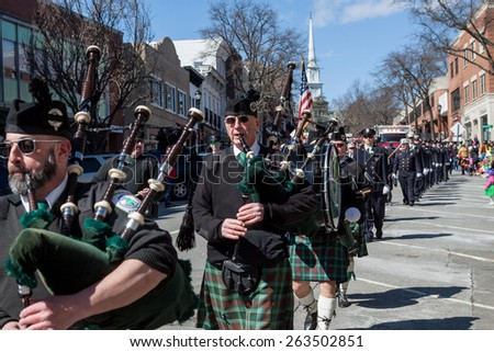 "Greenwich, CT, USA - March 22, 2015: The individuals are some of the many participants in the  ""Annual St. Patrick's Day"" parade held on March 22, 2015 in downtown Greenwich Connecticut."