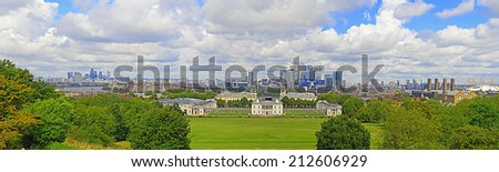 Greenwich Park, Canary Wharf, Wren's Architecture and the London Skyline from Greenwich Observatory.  - stock photo