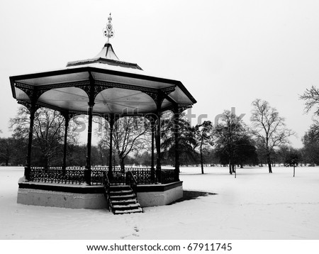 greenwich park in london after snow full - stock photo