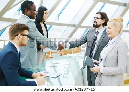 Greeting at meeting - stock photo