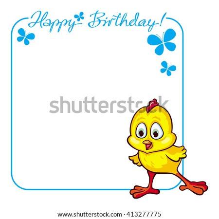Greeting Birthday card with baby chicken. Raster clip art.