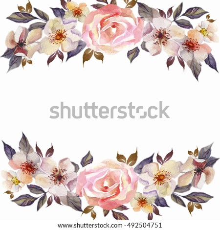 Watercolor Flower Border Stockbilder Und Bilder Und