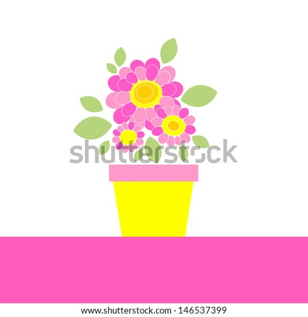 Greeting bouquet with daisy. Raster copy of vector image - stock photo