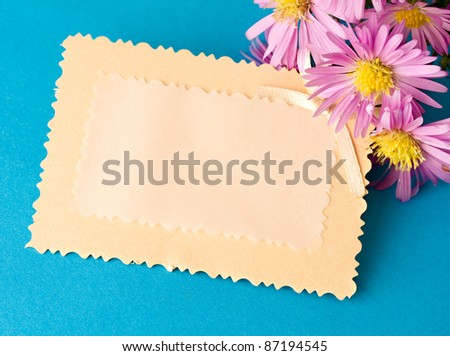 Greeting card and flowers - stock photo