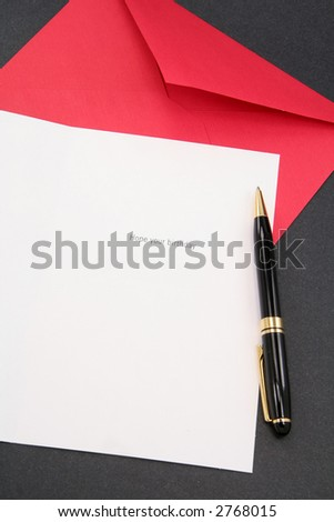 greeting card and red envelope, communication concept - stock photo