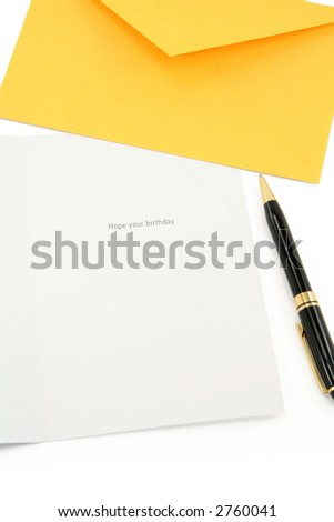 greeting card and yellow envelope, communication concept - stock photo