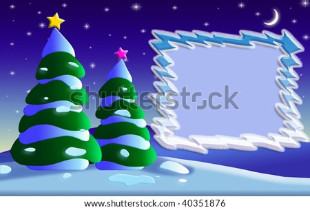 Greeting card background for Cristmas and New Year's day with a photo frame.