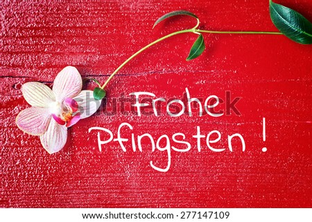 greeting card background - german for  happy pentecost