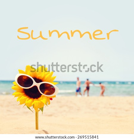 greeting card background - summer holidays - stock photo