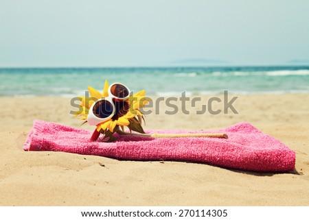 greeting card background - summer holidays - stock photo