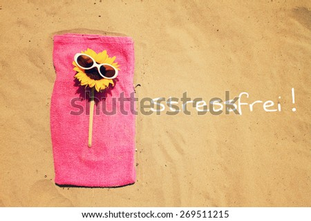 greeting card background - summer holidays - german for stress-free - stock photo