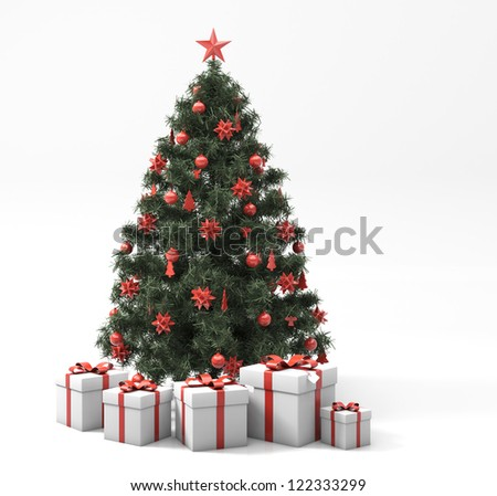 Greeting card: Christmas tree with gifts on light background
