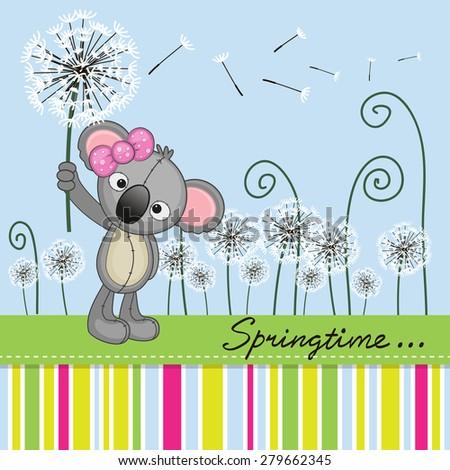 Greeting card Cute Koala with dandelion on a meadow  - stock photo