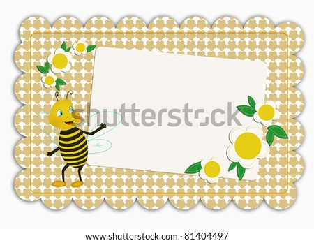 Greeting card decorated with flowers and funny bee - stock photo