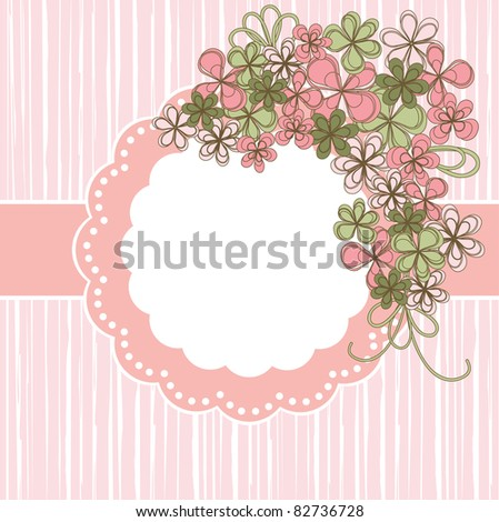 Greeting card. Flower on pink background.