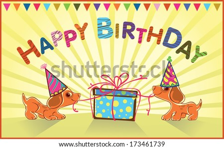 greeting card for baby. Puppies open gift. raster version. - stock photo