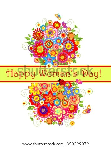 Greeting card for international Woman Day - stock photo