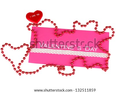 Greeting card for Valentine's Day isolated on white - stock photo