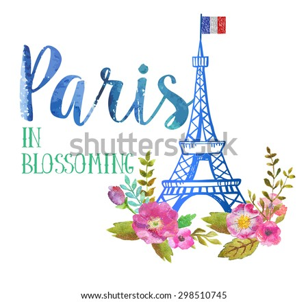 Greeting card from Paris in blossoming. The watercolor art paint on white background - stock photo