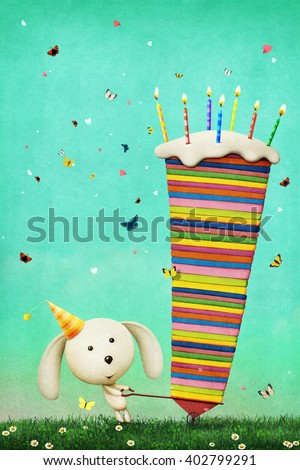 Greeting card Happy Birthday with colorful cake and bunny - stock photo
