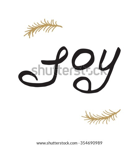 Greeting card - joy. Merry Christmas background with typography, lettering. - stock photo