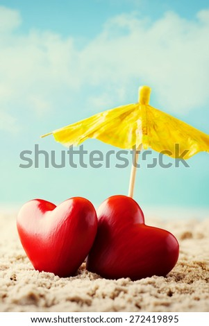 Greeting card just married. Sea, hearts composition. - stock photo