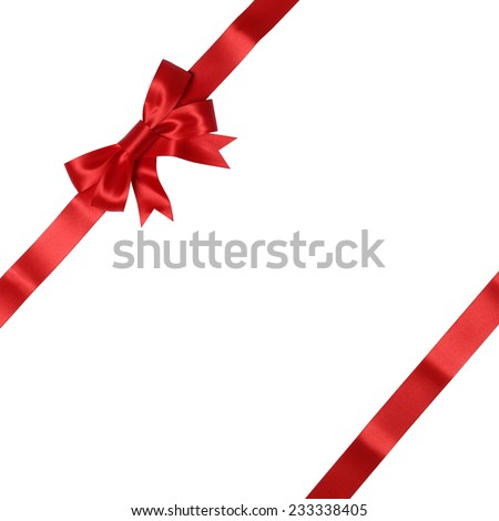 Greeting card on gift with bow for gifts on Christmas or Valentines day isolated on a white background - stock photo