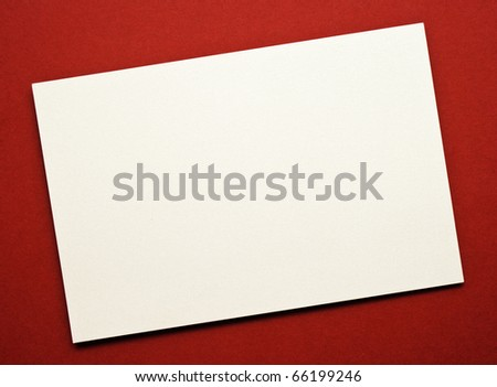 Greeting card on red paper. Natural Textures - stock photo