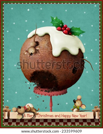 Greeting card or holiday illustration with Christmas pudding and fun mice - stock photo