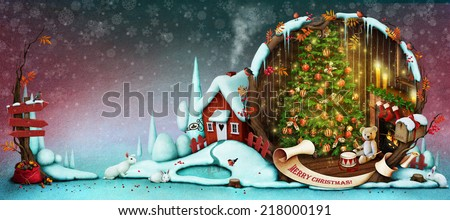 Greeting card or illustration for Christmas or New Year.  - stock photo
