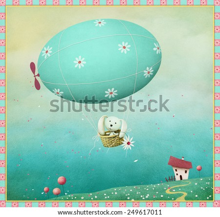 Greeting card or illustration Happy Easter egg and bunny - stock photo