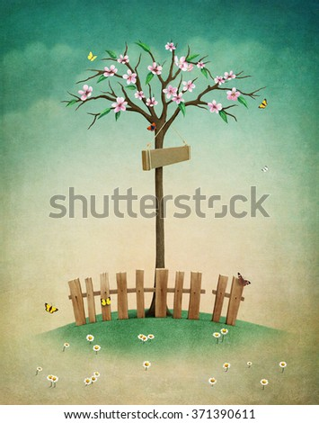 Greeting card or illustration of beautiful autumn lawn with  fence and  tree - stock photo