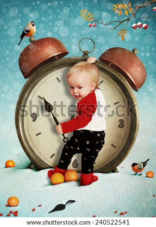Greeting card or illustration of  boy and  clock - stock photo