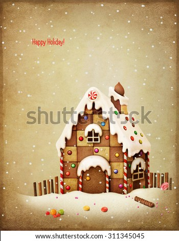 Greeting card or illustration of  gingerbread house and candy - stock photo