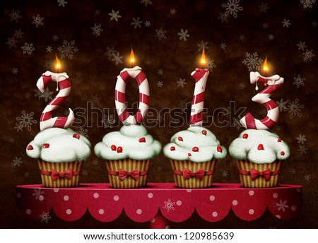 Greeting card or illustration with decorated cakes - stock photo
