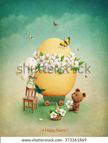 Greeting card or illustration with teddy bear and bunny decorating easter egg flowers - stock photo