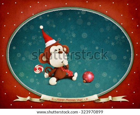 Greeting card or poster of New Year with  toy monkey - stock photo