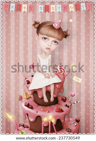 Greeting card or poster to celebrate with cake and  girl.  - stock photo