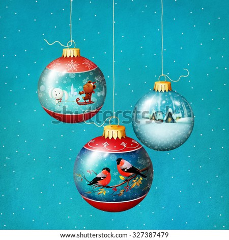 Greeting card or poster with glass Christmas balls - stock photo