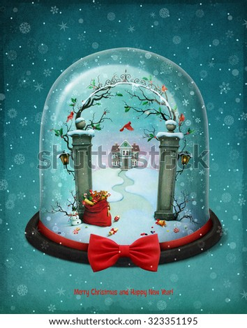 Greeting card or poster with snow globe Christmas - stock photo