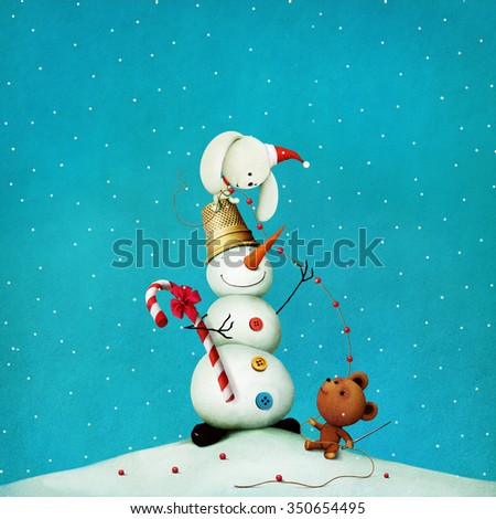 Greeting card or poster with  snowman in a thimble and  toy bear and bunny - stock photo