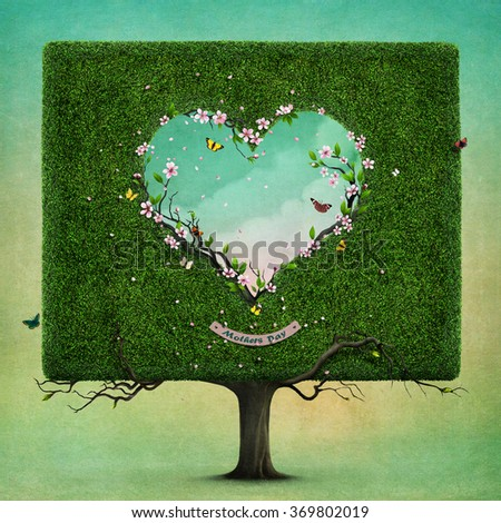 Greeting card or poster with  square tree and  heart for Mother's Day - stock photo