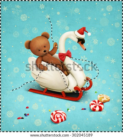 Greeting card or poster with  Swan sleigh and Teddy with Christmas or New Year - stock photo