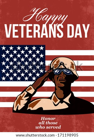 Greeting card poster showing illustration of an American soldier with bugle and stars and stripes flag set inside ellipse retro style with words Happy Veterans Day with sincere thanks for our freedom. - stock photo